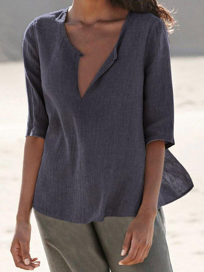 Gray Casual Half Sleeve Solid Shirts