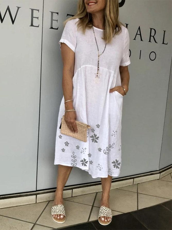 White Short Sleeve Floral Dresses