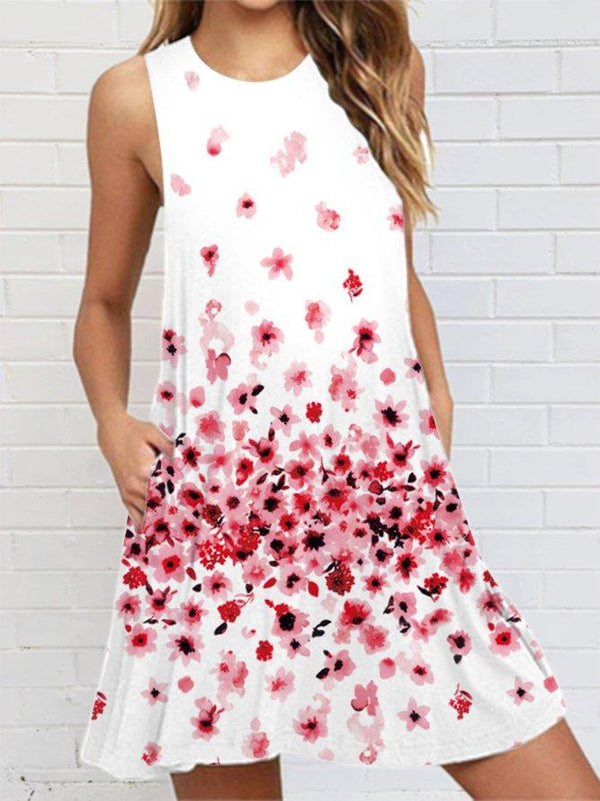 White-red Scoop Neck Sleeveless Dress