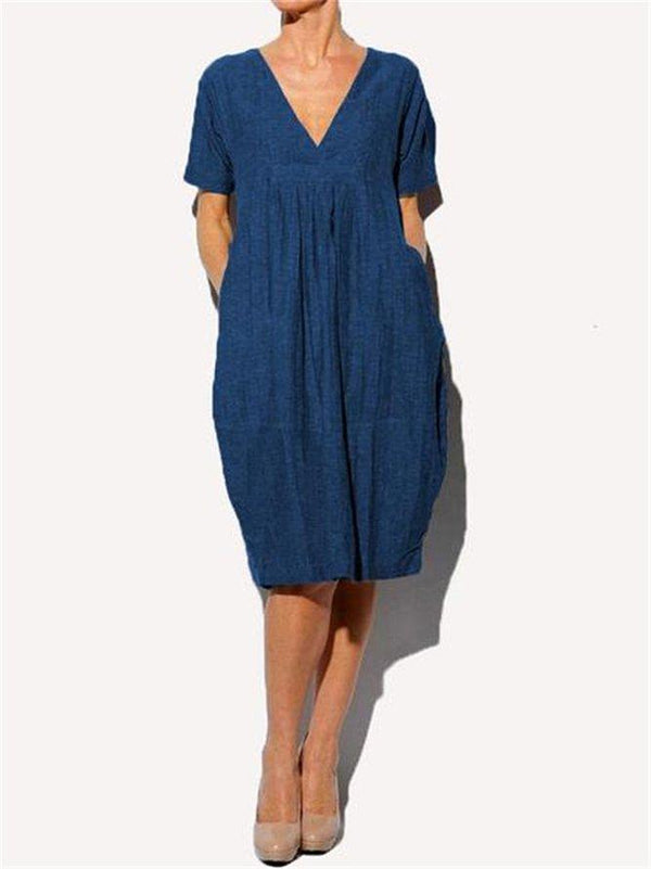 Casual V Neck Short Sleeve Dress