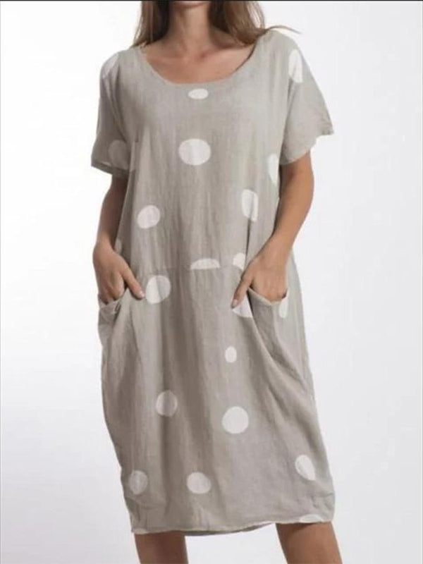 Short Sleeve Asymmetric Cotton-Blend V Neck Dresses
