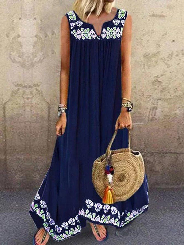 V Neck Floral Print Straight Dress