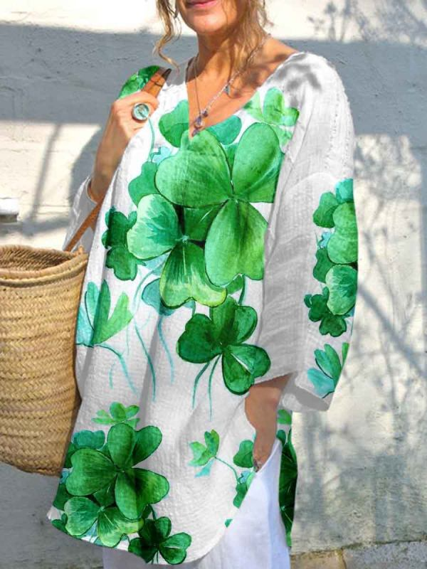 Womens Four-leaf Clover Printed V-neck Long Loose Top