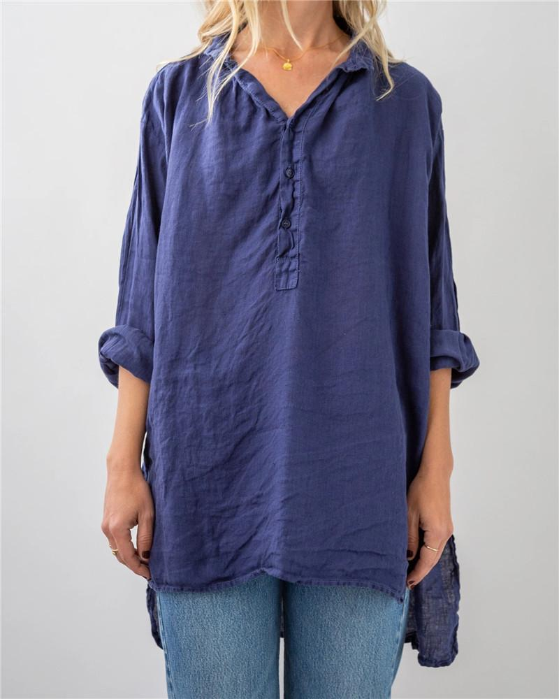 V Neck Irregular Button Blouse