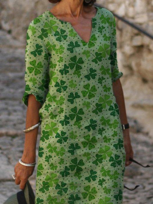 Green Half Sleeve V Neck Straight Plant Dress