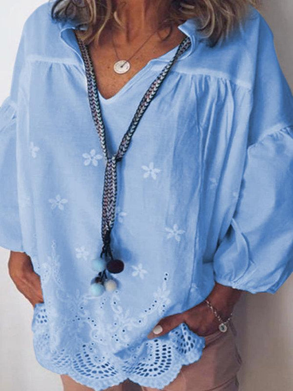 Blue 3/4 Sleeve Holiday Shift Cotton-Blend Shirts & Tops