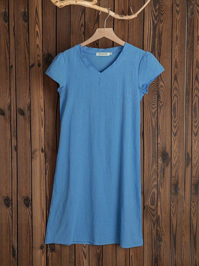 Casual Cotton-Blend V-Neck Short Sleeve Dresses