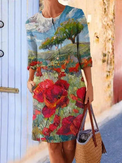 Red Crew Neck Floral Printed Long Sleeve Dresses