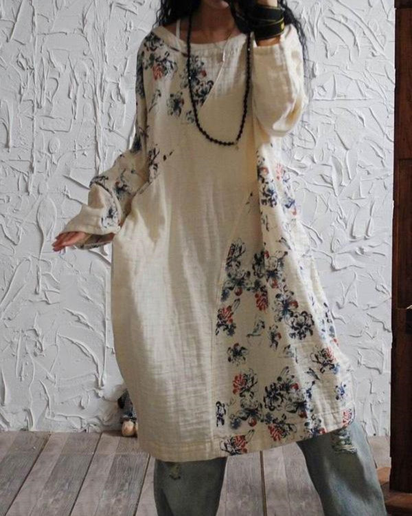 Casual Linen Crew Neck Floral Printed Long Top
