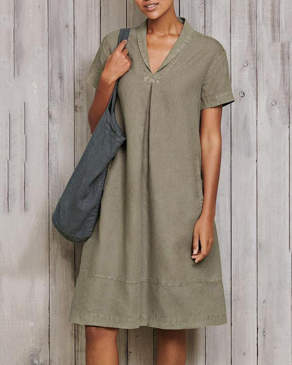 Casual Short Sleeve Solid Linen Mini Dress