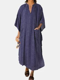 Striepd Print Long Sleeve V-Neck Dress With Pockets For Women