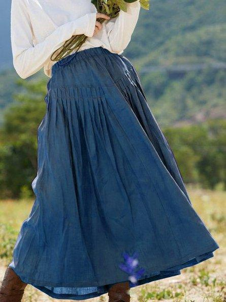 Vintage Linen Solid Swing Skirt