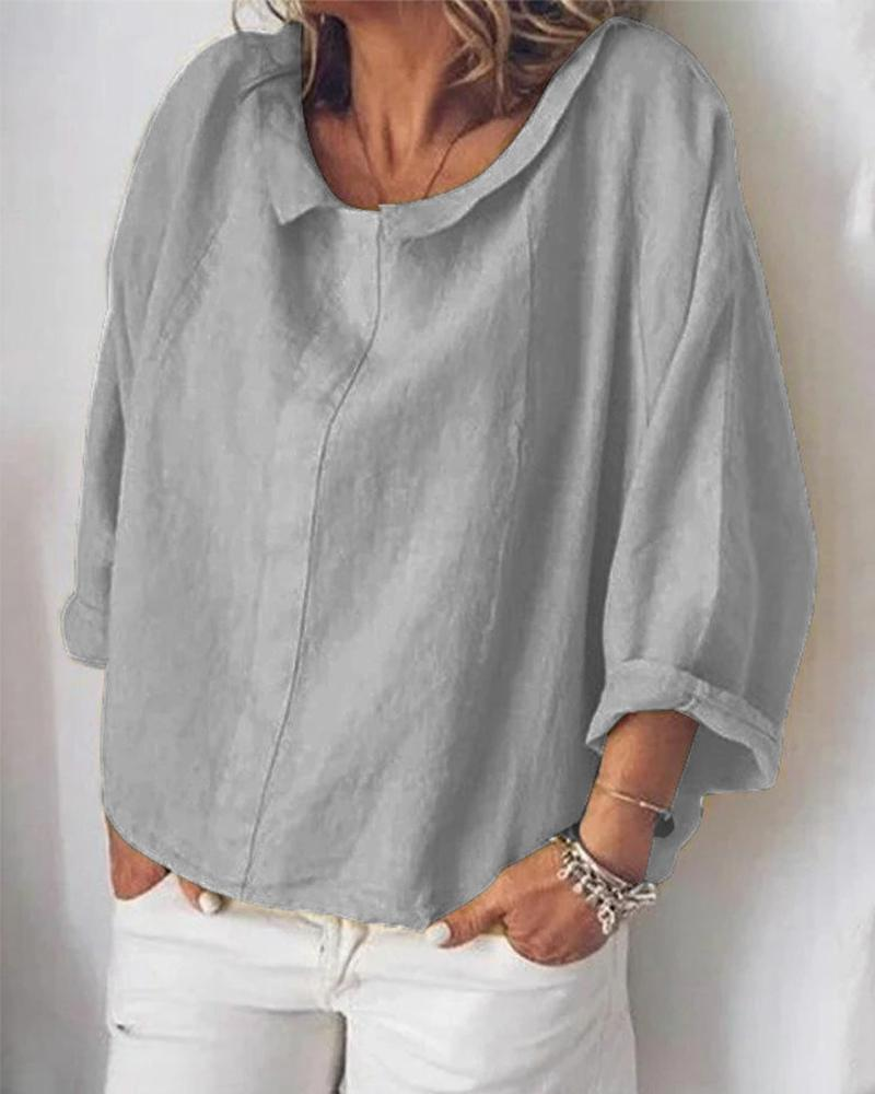Solid Color Turn-down Collar Long Sleeve Loose Blouse