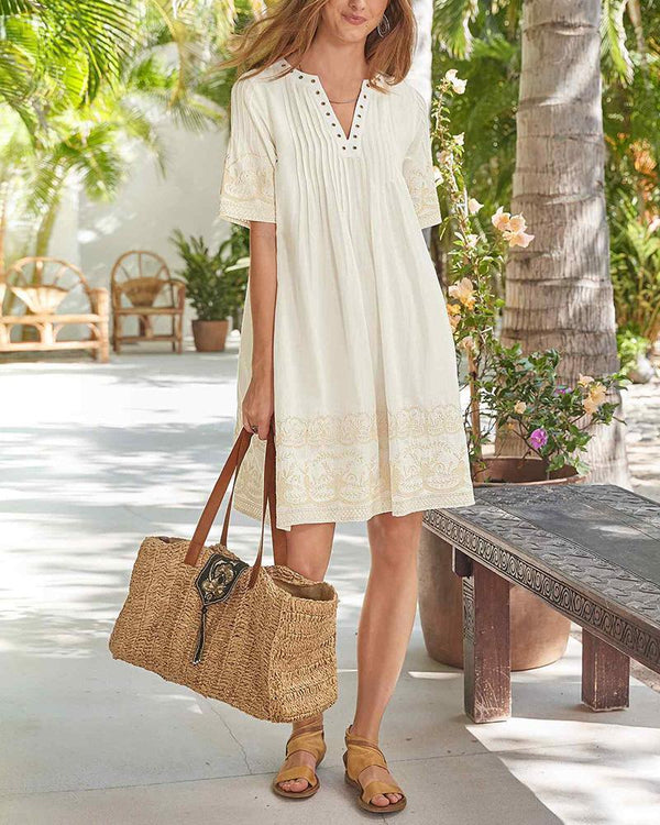 Short Sleeve V-Neck Solid Color Dress