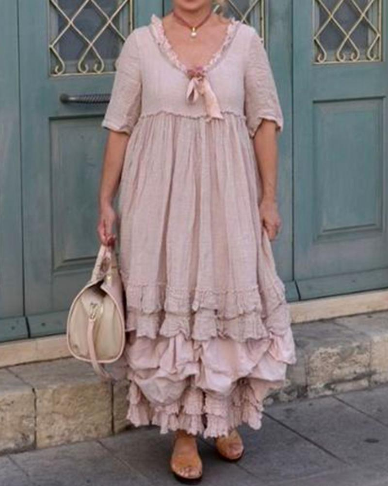 Lace Wrinkle Round Neck Short Sleeve Dress