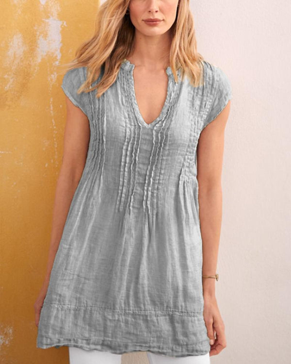 V Neck Stripe Short Sleeve Tunic