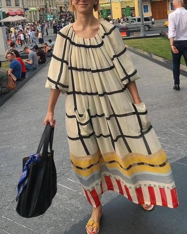Casual Round Neck 3/4 Sleeve Loose Plaid Maxi Dress