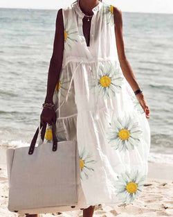 White Round Neck Button Sleeveless Fairy Midi Dress