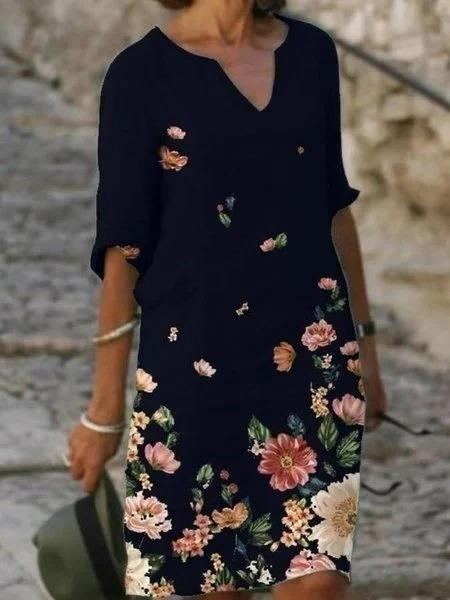 Casual Half Sleeve Floral Dresses