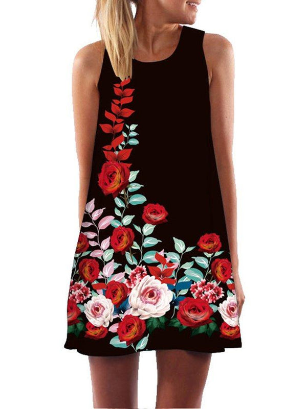 Print Round Neckline Sleeveless Dress