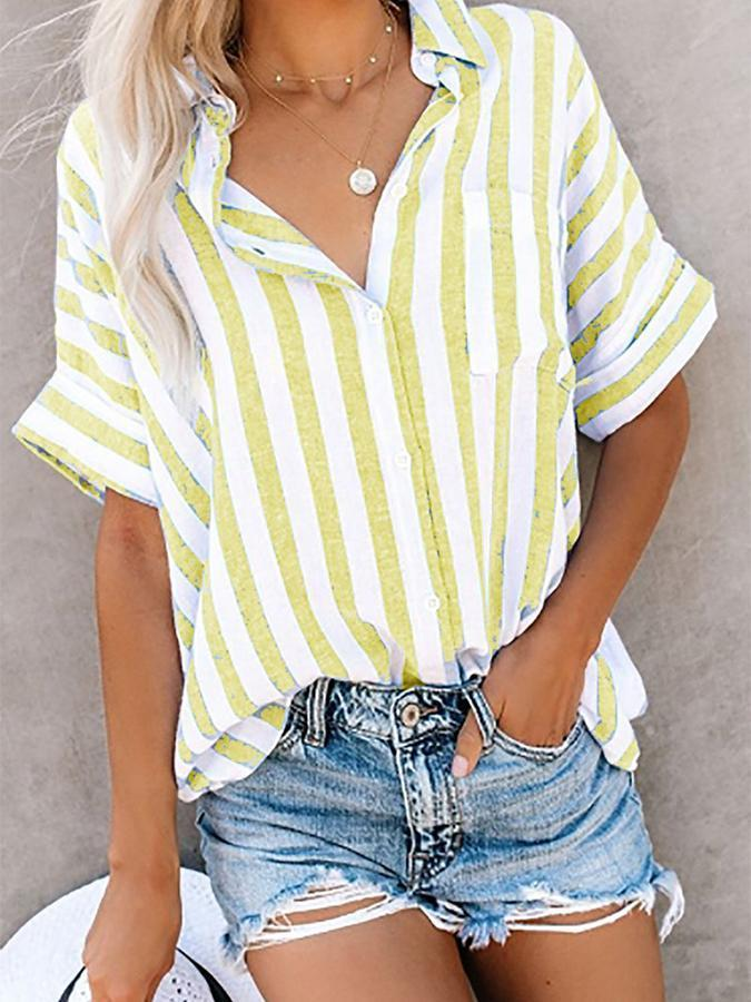 Short Sleeve Cotton Printed Casual Shirt & Blouse