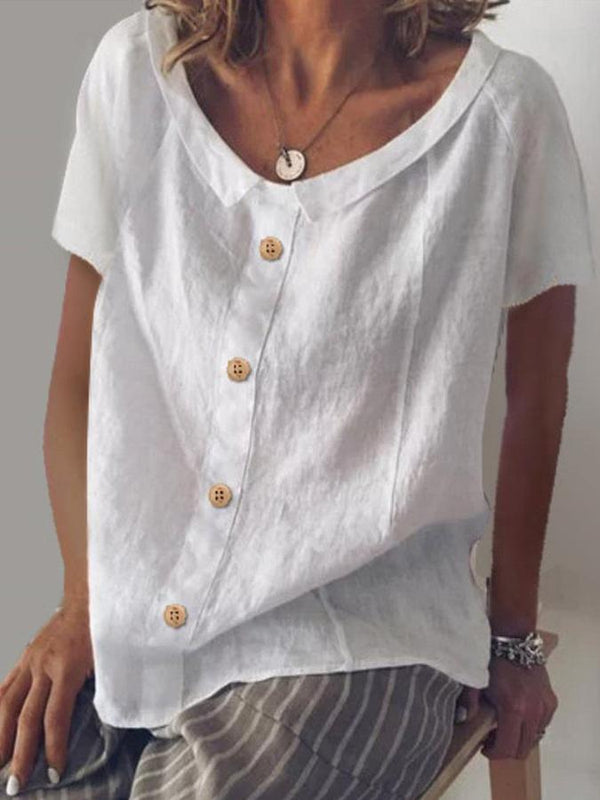 Cotton Short Sleeve Solid Shift Shirts & Tops