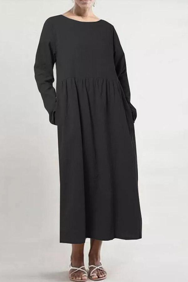 Casual Solid Side Pockets Long Sleeves Maxi Dress