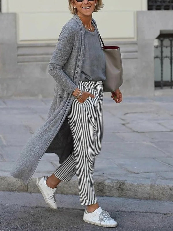 Simple Casual Loose Top Pants Coat Three Piece Suit