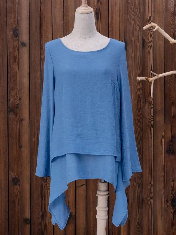 Asymmetrical Hem Long Sleeve Crew Neck Shirts Plus Size Tops