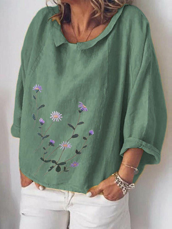 Floral Printed O-neck Long Sleeve Blouse For Women