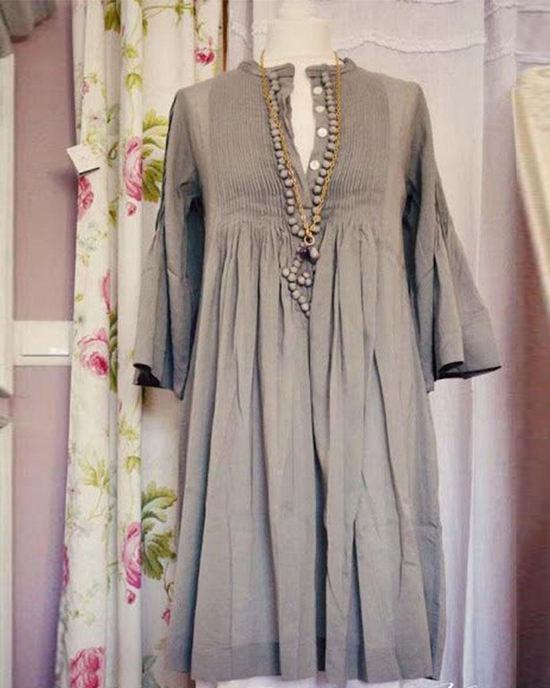 Wrinkle Casual Long Sleeve With Button Dress