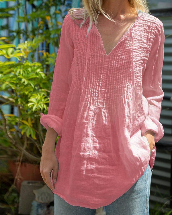 V-Neck Long Sleeve Cotton Rayon Top