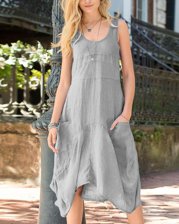 Simple Casual Loose Irregular Dress