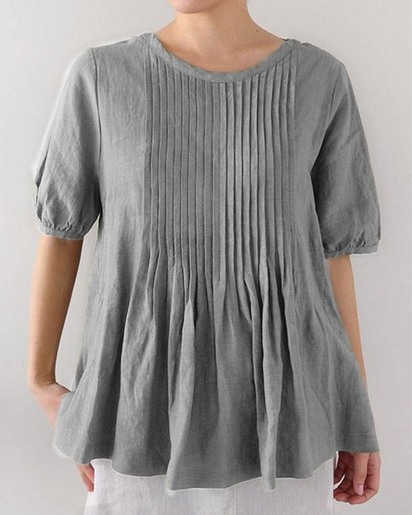 Stripe Wrinkle Short Sleeve Round Neck Tunic