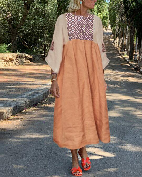 Solid color embroidered linen straight dress