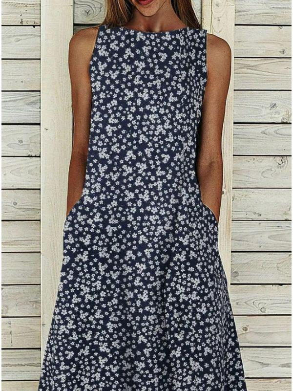 Floral Sleeveless Round Neck A-Line Dress