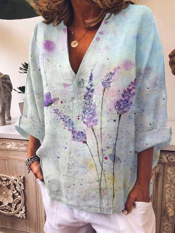 V-neck Tie-Dye Print Long-Sleeved Shirt