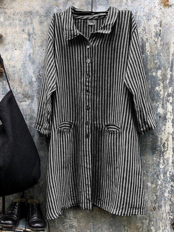 Lapel Collar Long Sleeve Striped Shirts