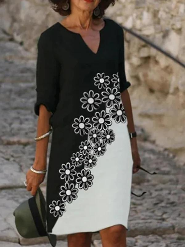 Black White Casual Geometric Printed Dresses