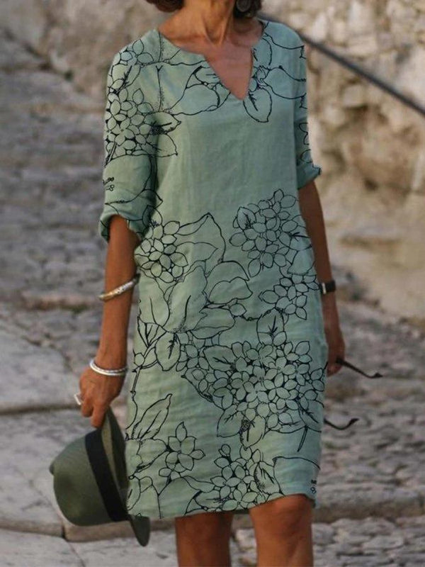 Green Floral Casual Half Sleeve Dresses
