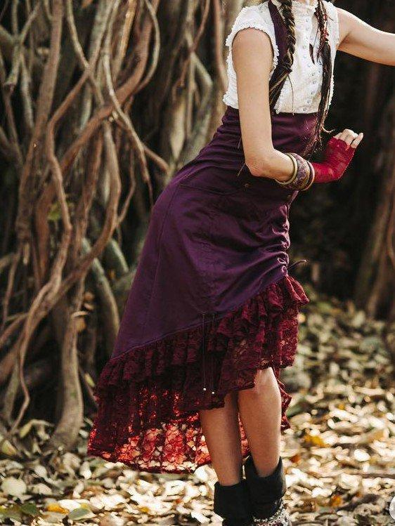 Hippie Boho Steam punk  High Waist Skirt