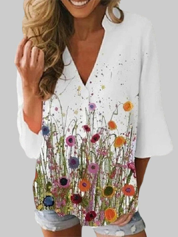 Flower Print V-neck 3/4 Sleeve Casual Blouse For Women