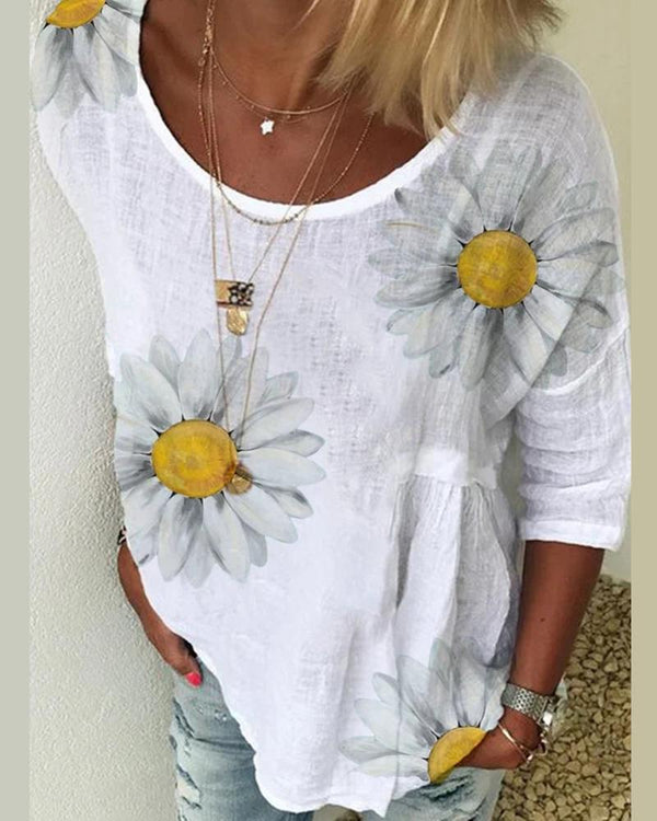 Casual Crew Neck Printed Floral Blouse