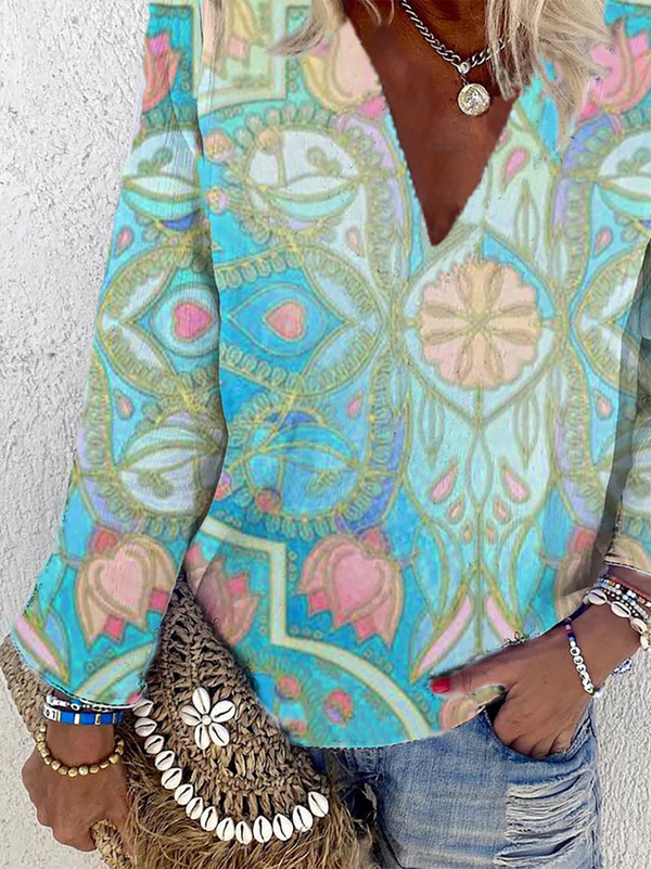 Plus Size Long Sleeve Hippie Printed Shirts & Tops