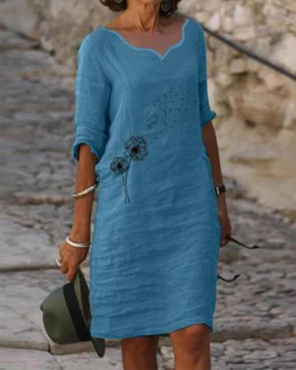 Embroidered V Neck  Casual Dress
