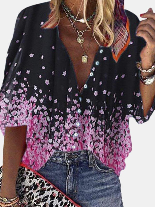 Calico Print Button Half Sleeves Casual Blouse For Women
