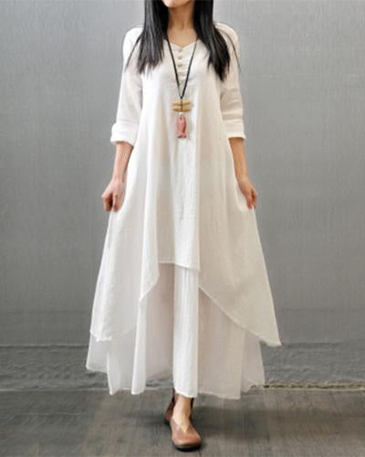 Casual Irregular Solid Woman Maxi Dress