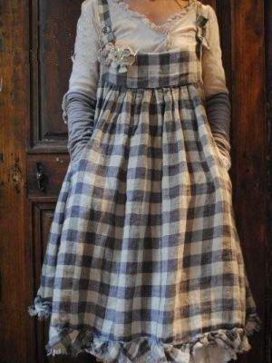 Casual Cotton-Blend Checkered Vintage Dress