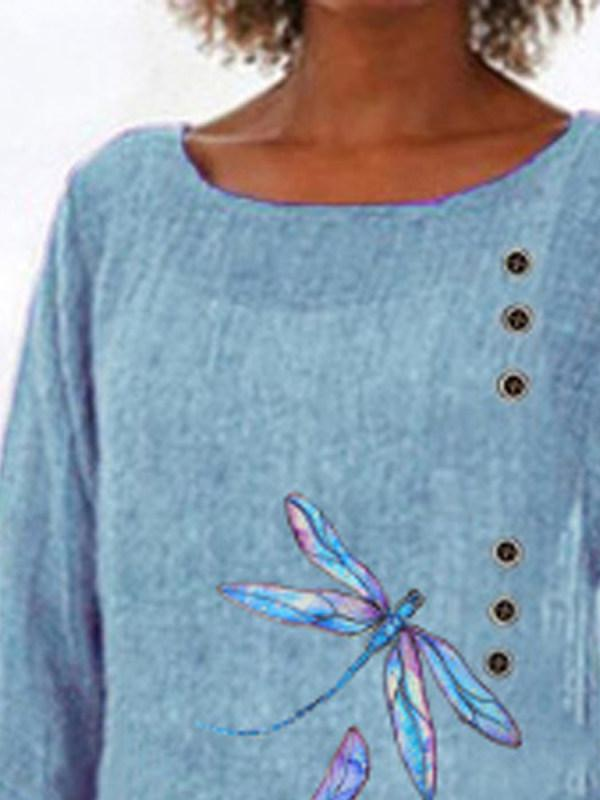 Casual Printed Long-sleeved Dragonfly T-shirt