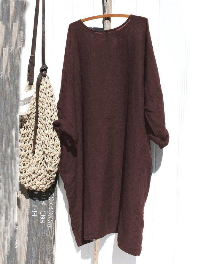 Casual Linen Solid Long Sleeve Dresses